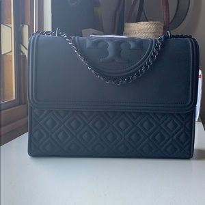 Tory Burch matte black Fleming shoulder bag
